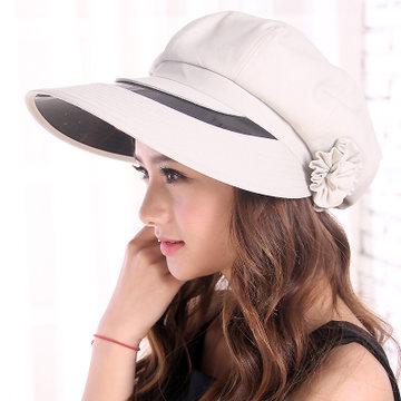 女士韩版潮夏天防紫外线帽子 大沿骑车防晒帽太阳